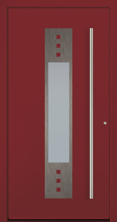 Aluminum entry door with stainless steel design