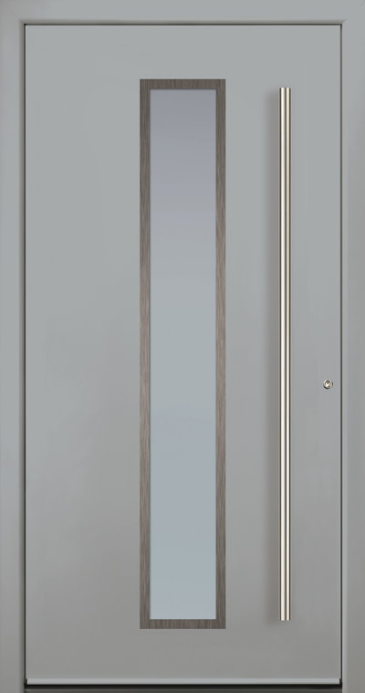Modern Entry Door. Model 1 with overlay panel. White aluminum